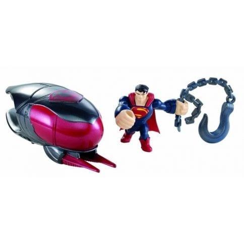 Mattel Figurina lansatoare Man of Steel si vehicul Robot Atack