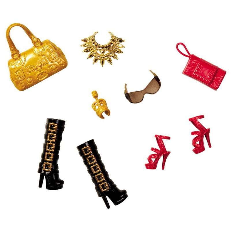 Barbie Accesorii Pantofi si Posete - Rosu si Auriu