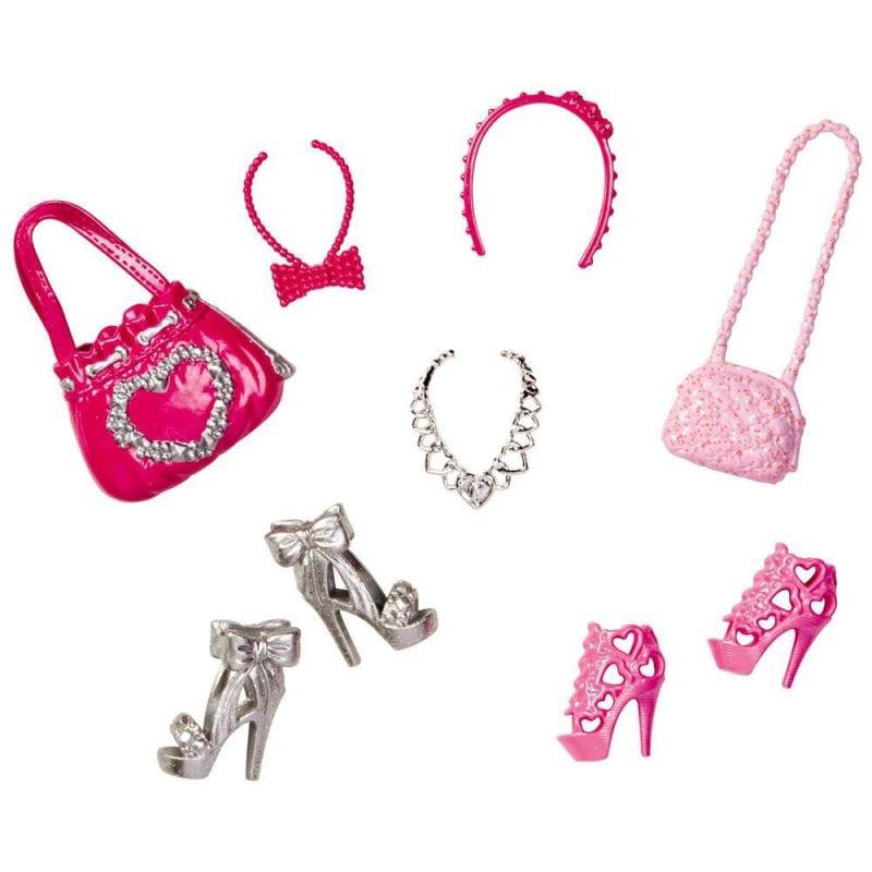 Barbie Accesorii Pantofi si Posete - Roz si Argintiu
