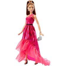 Papusa Barbie Bruneta in Rochita Rosie si Fabuloasa