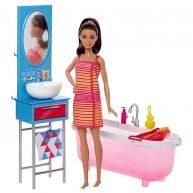 Papusa Barbie si Setul de Mobilier Baie