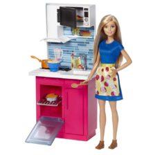 Papusa Barbie si Setul de Mobilier Bucatarie