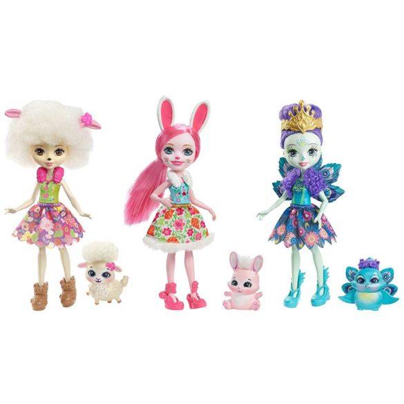 Enchantimals Set de 3 Papusi Bunny, Peacock si Lorna Lamb