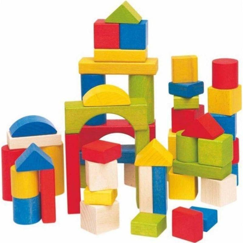 Set de Constructie din Cubulete Naturale si Colorate, 50 Buc.