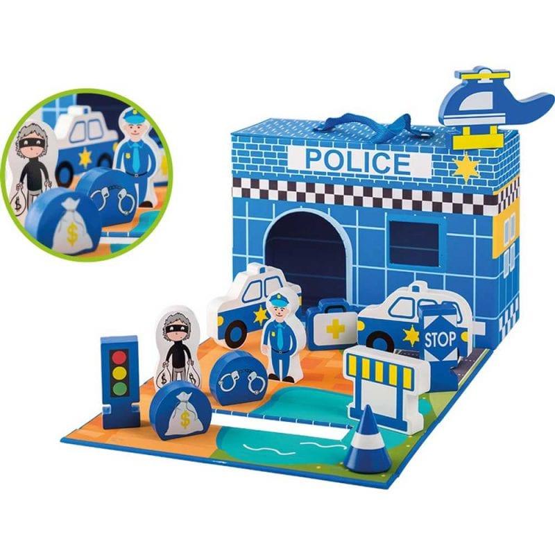 Set de Joaca Pliabil din Lemn Sectia de Politie