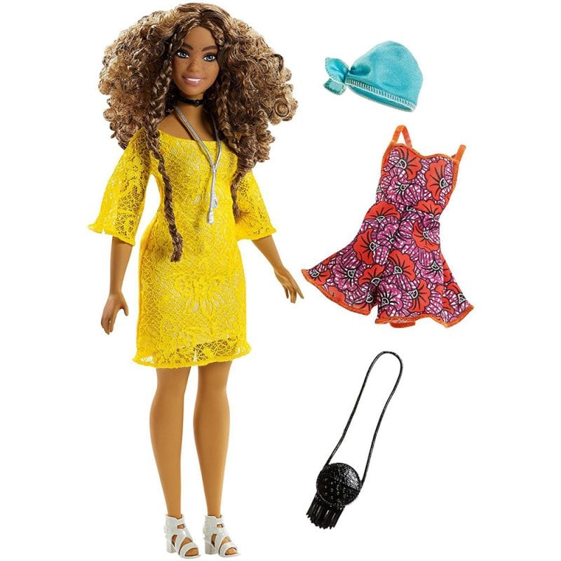 Papusa Barbie Fashionistas Par Cret si Rochie Galbena