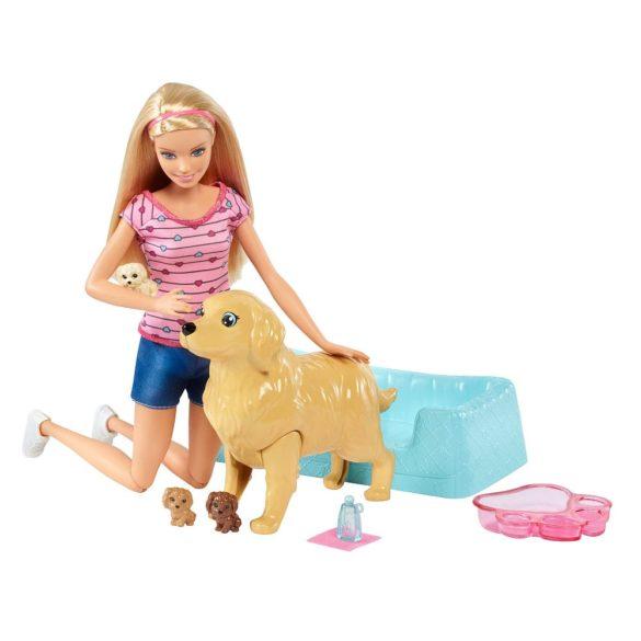 Papusa Barbie si Setul de Joaca Catelusi Nou Nascuti 3