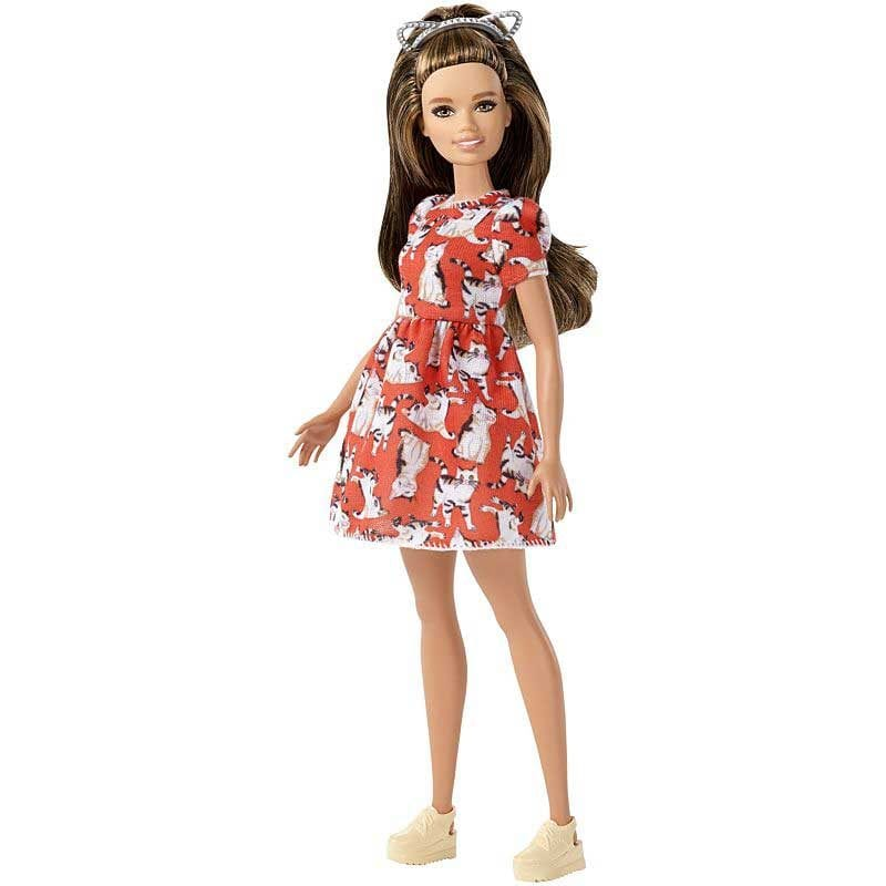 Papusa Barbie Fashionistas 97 cu Rochie Meow, Micuta
