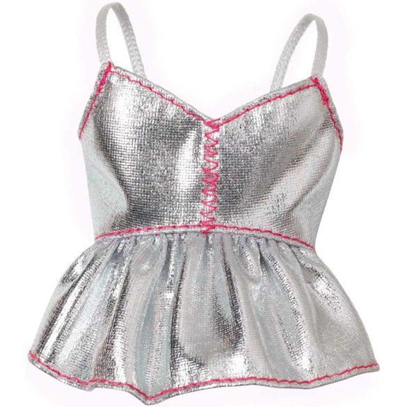 Hainute pentru Papusa Barbie Bluzita Argintie Cusatura Roz 1