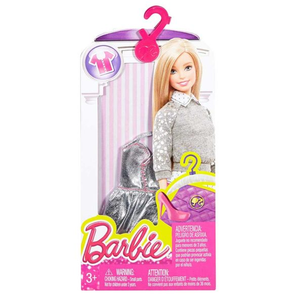 Hainute pentru Papusa Barbie Bluzita Argintie Cusatura Roz 2