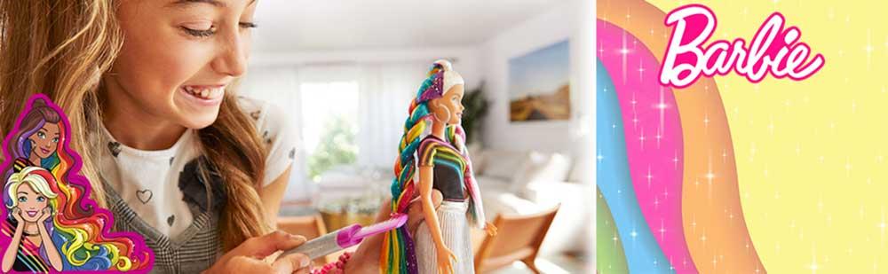 Papusa Barbie cu Par Curcubeu Stralucitor