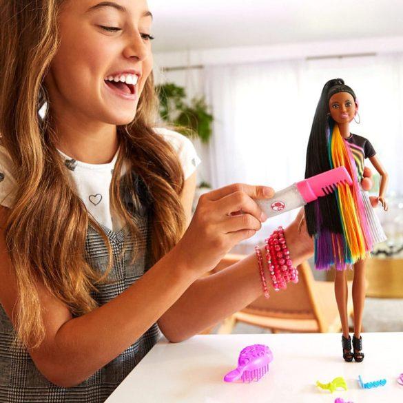 Papusa Barbie cu Par Curcubeu Stralucitor Bruneta 4