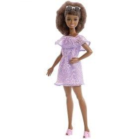 Papusa Barbie Fashionistas 93 Rochia cu Danteluta Mov