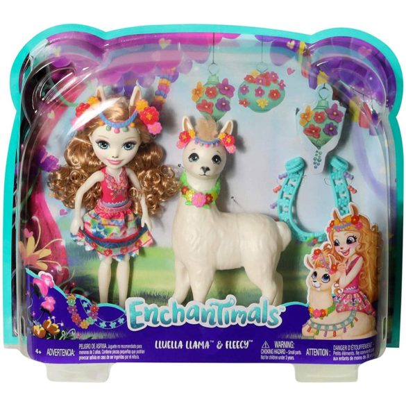 Enchantimals Papusa Lluella Llama si Figurina Fleecy 8