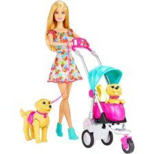Jucarie Papusa Barbie cu caini si carucior CNB21