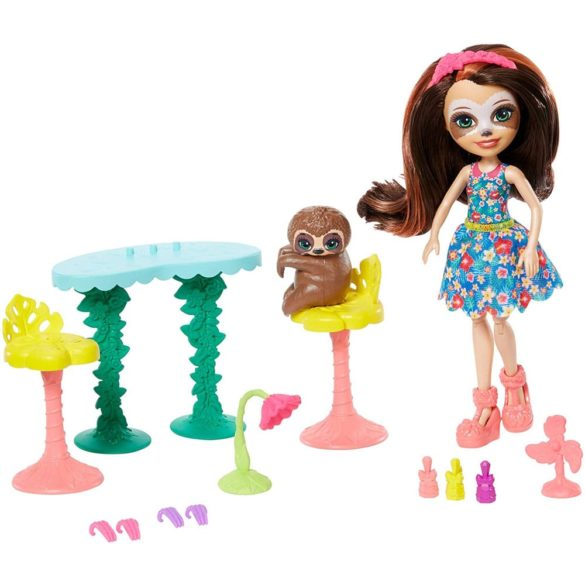 Set de Joaca Enchantimals Salonul de Infrumusetare si Papusa Sela Sloth 2
