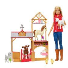 Set de Joaca cu Papusa Barbie Ferma Animalelor