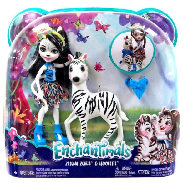 Enchantimals Papusa Zelena Zebra si Figurina Hoofette 8