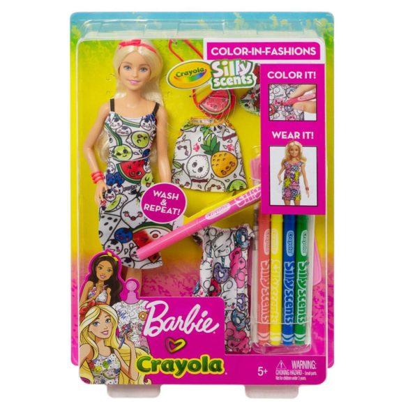 Barbie Crayola Papusa Blonda cu Tinute de Colorat 9
