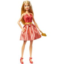 Barbie Holiday Papusa cu Rochita Aurie Blonda