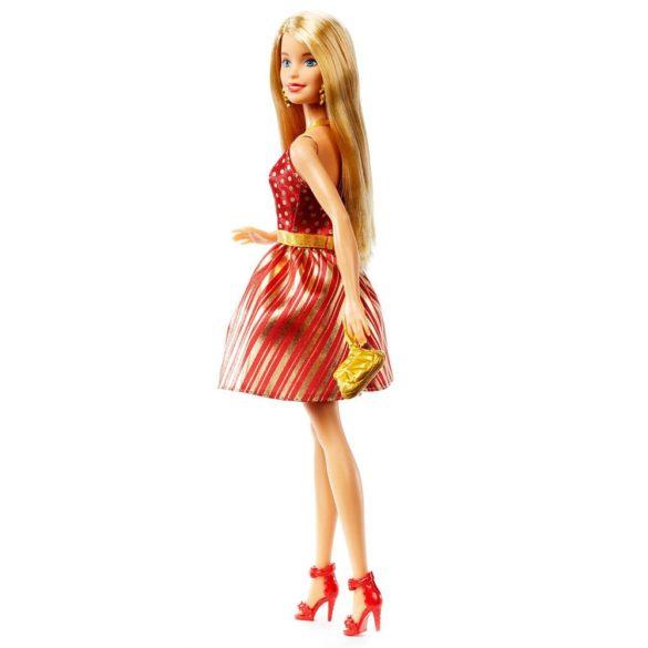 Barbie Holiday Papusa cu Rochita Aurie Blonda 6