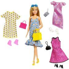 Set Barbie Papusa cu 4 Tinute, Gentute si Accesorii