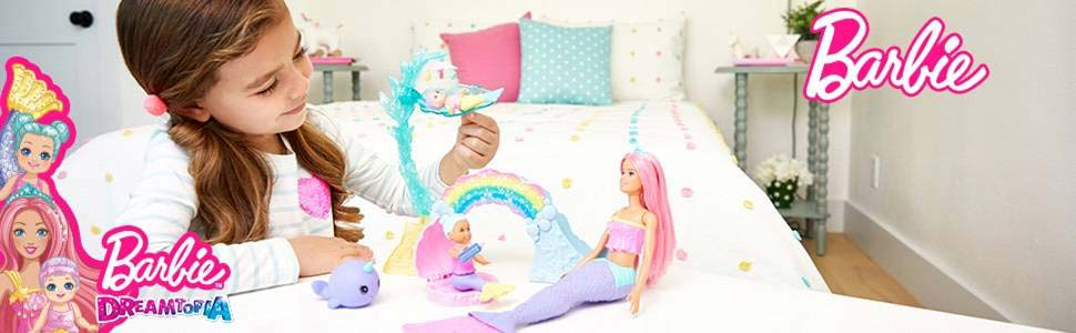 Barbie Dreamtopia Set de Joaca Sirena Barbie si 2 Figurine