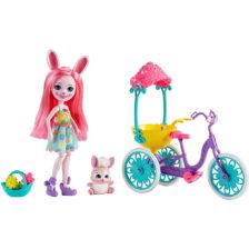 Enchantimals Papusa Bree Bunny si Setul Prieteni pe Bicicleta