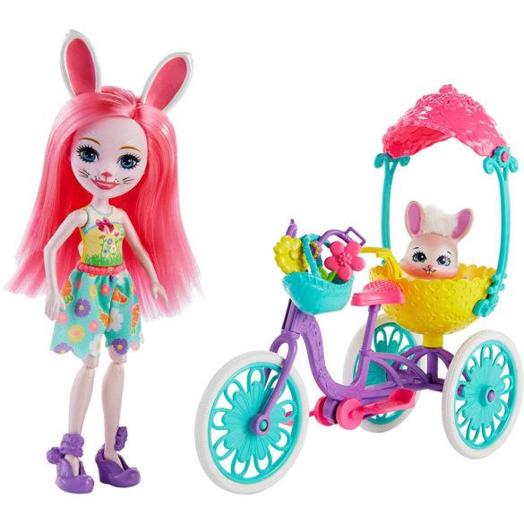 Enchantimals Papusa Bree Bunny si Setul Prieteni pe Bicicleta 2