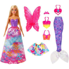 Papusa Barbie cu 3 Tinute Printesa, Sirena si Zana