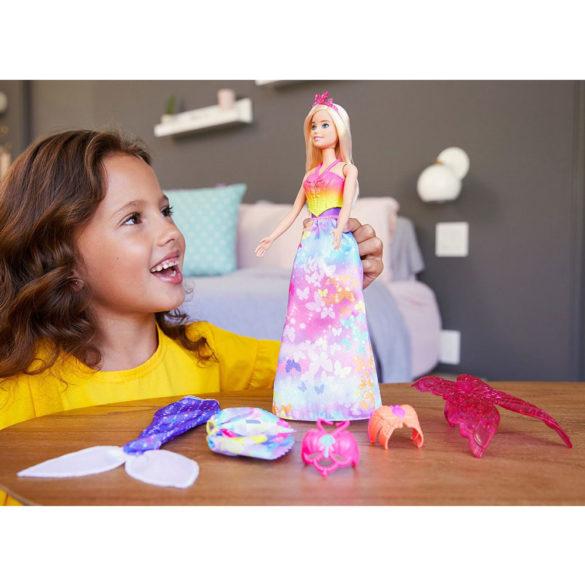 Papusa Barbie cu 3 Tinute Printesa Sirena si Zana 2