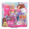 Papusa Barbie cu 3 Tinute Printesa Sirena si Zana 6