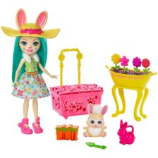 Enchantimals Papusa Fluffy Bunny si Gradina de Vis