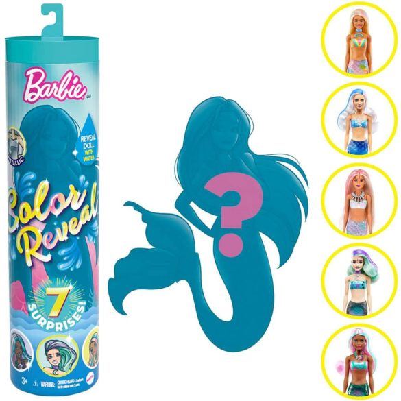 Papusa Barbie Color Reveal Sirena cu 7 Accesorii