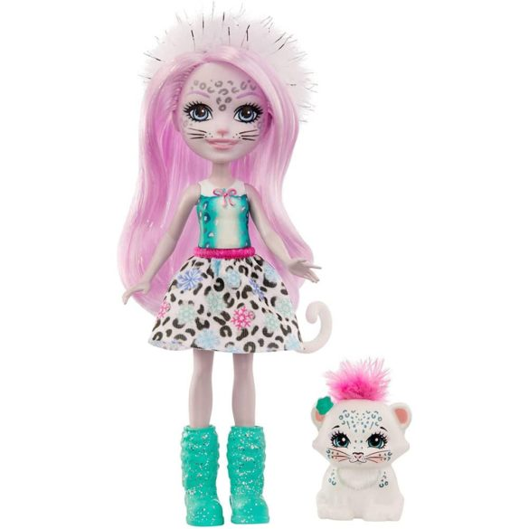 Enchantimals Papusa Sybill Snow Leopard & Flake