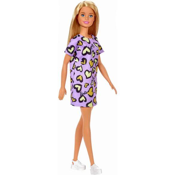 Papusa Barbie Clasic in rochie mov cu inimioare 2