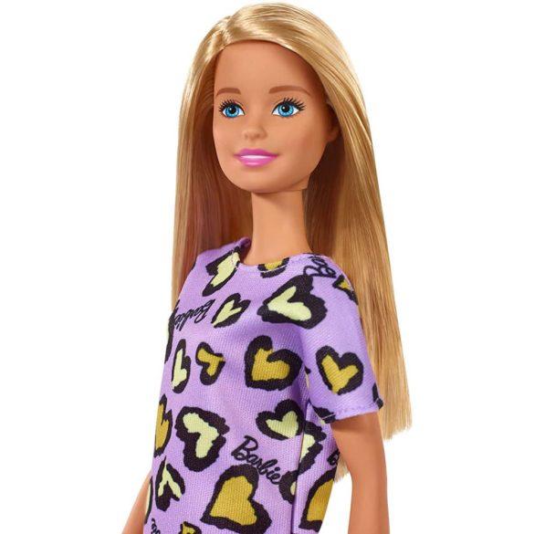 Papusa Barbie Clasic in rochie mov cu inimioare 4