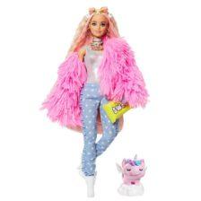 Papusa Barbie Extra #3 Pink Coat cu Unicorn
