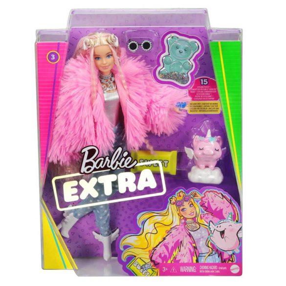 Papusa Barbie Extra 3 Pink Coat cu Unicorn 7