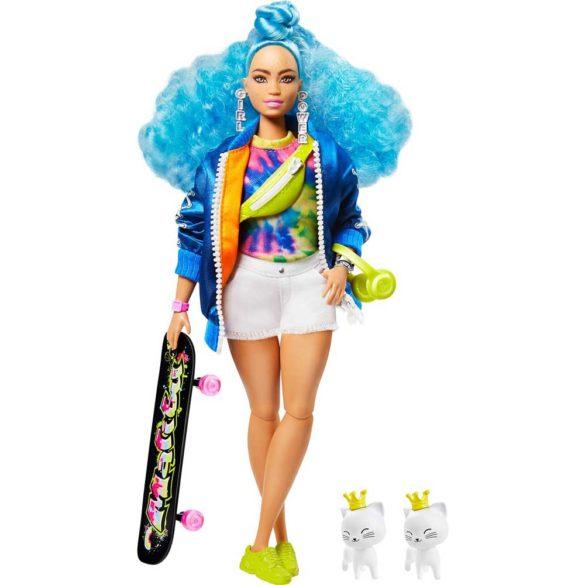 Papusa Barbie Extra #4 cu Skateboard si 2 Pisicute