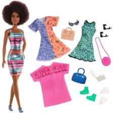Papusa Barbie cu 4 Tinute si Accesorii