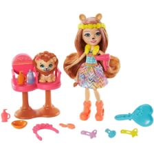 Set de joaca Enchantimals Salonul de coafura si Papusa Lacey Lion