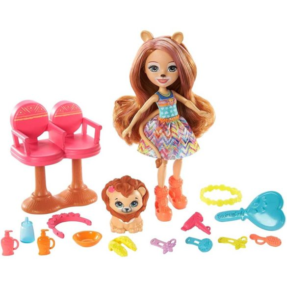 Set de joaca Enchantimals Salonul de coafura si Papusa Lacey Lion 2