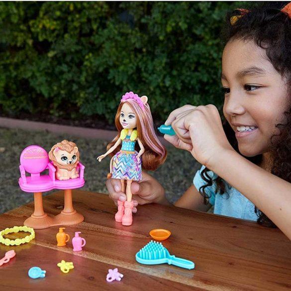 Set de joaca Enchantimals Salonul de coafura si Papusa Lacey Lion 5