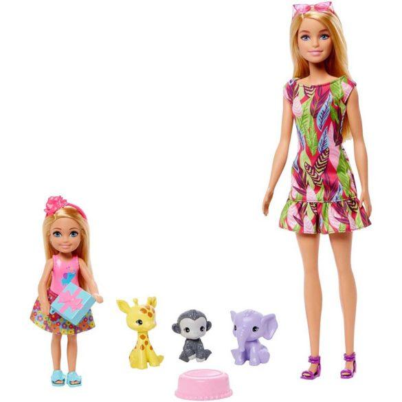 Set de Joaca cu Papusa Barbie, Chelsea si 3 Figurine